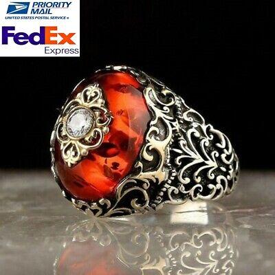 Turkish Jewelry 925 Sterling Silver orange amber wonderful Men ring ALL SİZE usa
