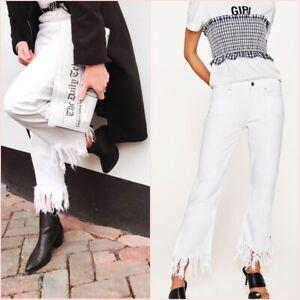 3c3b749f Zara White Frayed Hem Mid Rise Mini Flare Crop Jeans Size 6 8 US 2 4 ...