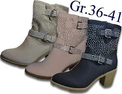 Damen Stiefeletten Stiefel Leder-Optik Boots Reißverschluss NEU Gr.36-41 @2534