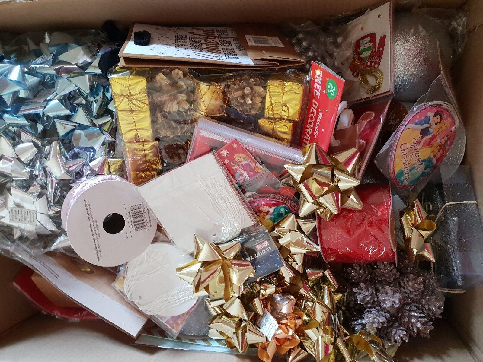 JOB LOT CHRISTMAS BOX, GIFT BAGS, TAGS, BOWS AND MORE