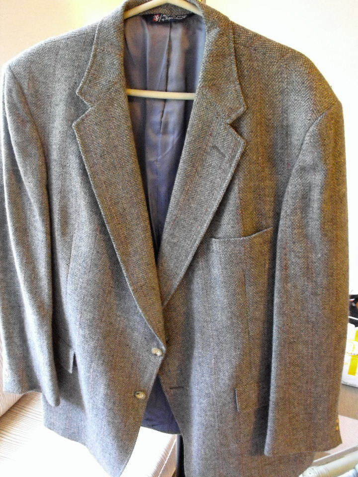 Nice AUSTIN REED (London) grau Herringbone Sports Coat w/Grün/ROT Stripes 46R