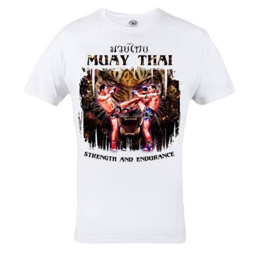Mma Muay Thai Tigre Gym Entraînement Arts Martiaux Hommes Blanc T-Shirt Coton