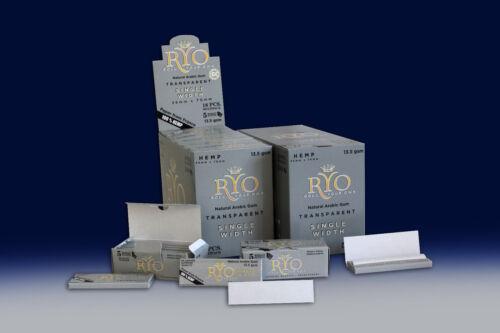 BOX OF 90 HEMP ROLLO GREY ROLlLING PAPERS RYO Cigarrette Tobbacco Roller Filter
