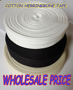 100% Cotton Herringbone Sewing Binding Trimming Tape 20,25,30,38,50,75 mm BULK