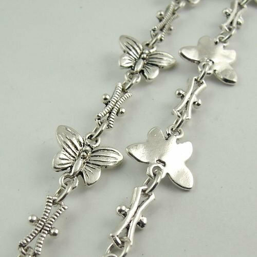 95CM Antique Silver Alloy Butterfly Necklace Bracelet Chain Jewelry 30133