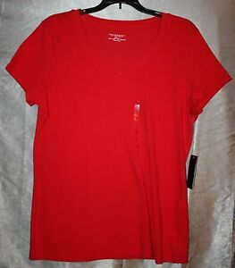 Womens-Size-L-Solid-Cap-Sleeve-Fitted-Knit-Top-V-Neck-Line-Red-by-Philosophy-NEW