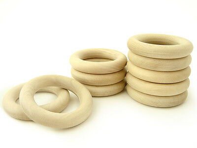 "20 Natural Untreated Organic Wooden Teething Rings 45mm 1 3//4/"" made in Europe"