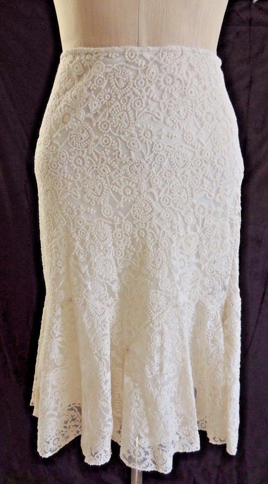 NWT Ralph Lauren Natural Embroidered Stretchy Lace Tulle Polo Cream Skirt 6