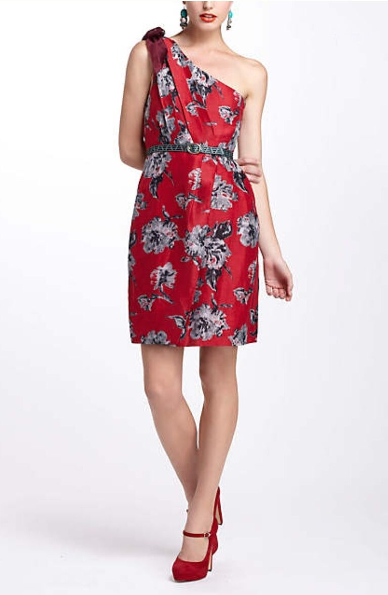 NEW Anthropologie rot Silk Blend Floral Bow One-Shoulder Dress 12