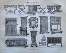 1889 MÖBEL KUNSTTISCHLEREI Original antiker Druck antique print Lithographie