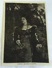 1883 magazine engraving ~ LONGINGS ~ woman gathers flowers