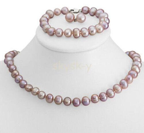 Genuine 8-9mm Purple Freshwater Cultured Pearl Necklace Bracelet /& Earrings Set