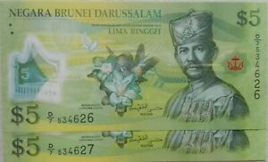 Brunei-2011-2-pcs-Running-Number-5-Ringgit-note-D-7-534626-27