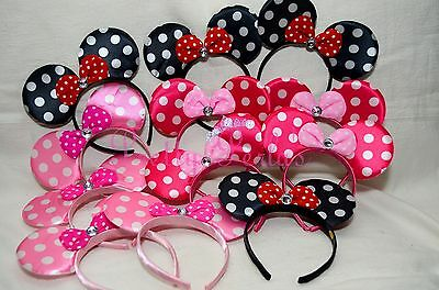 16pcs Minnie Mouse Ears Headband Pink, Red, Bows-Black Party Favors Costume