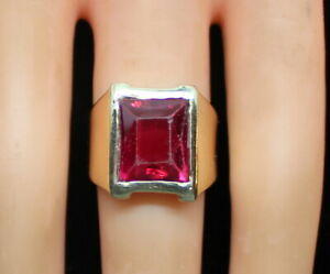 Vintage-Estate-Men-039-s-10K-Yellow-Gold-5-Ct-Emerald-Cut-Sim-Ruby-Pinky-Ring-7-1g