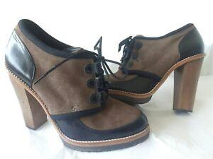 Asos Ladies Black/Mushroom Lace up Block Heel Shoe Size UK 7