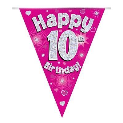 Costante Cuori Rosa Olografico Felice 10th Compleanno Bandiera Striscione Di Bandierine | | Decorazione-mostra Il Titolo Originale