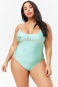 d4a2e030b2e73 Forever 21 Mint Silver Plus Size Sunkissed Cutout One-Piece Swimsuit ...