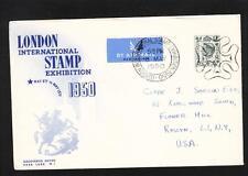 Great Britain George VI London Stamp Exhibit Air USA w/ Mulready Insert Card z74