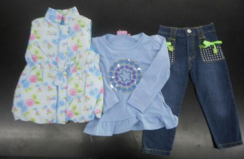 Shirt Infant Girls Titicos Babies 3pc Blue Vest /& Jeans Set Sz 12//18M-18//24M