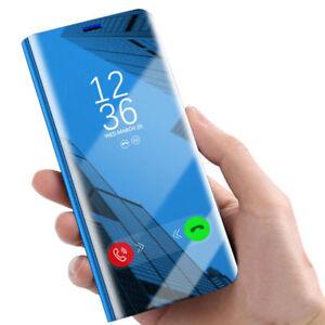 Samsung-Galaxy-S9-S8-S7-Smart-View-Espejo-Hibrida-de-Cuero-Abatible-De-pie-Estuche-Cubierta