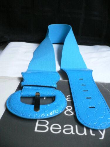 Women Hip Elastic High Waist Bright Sky Blue Fashion Belt Stretch Size XS Small