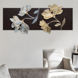 quadro fiori elementi in rilievo decorati in foglia