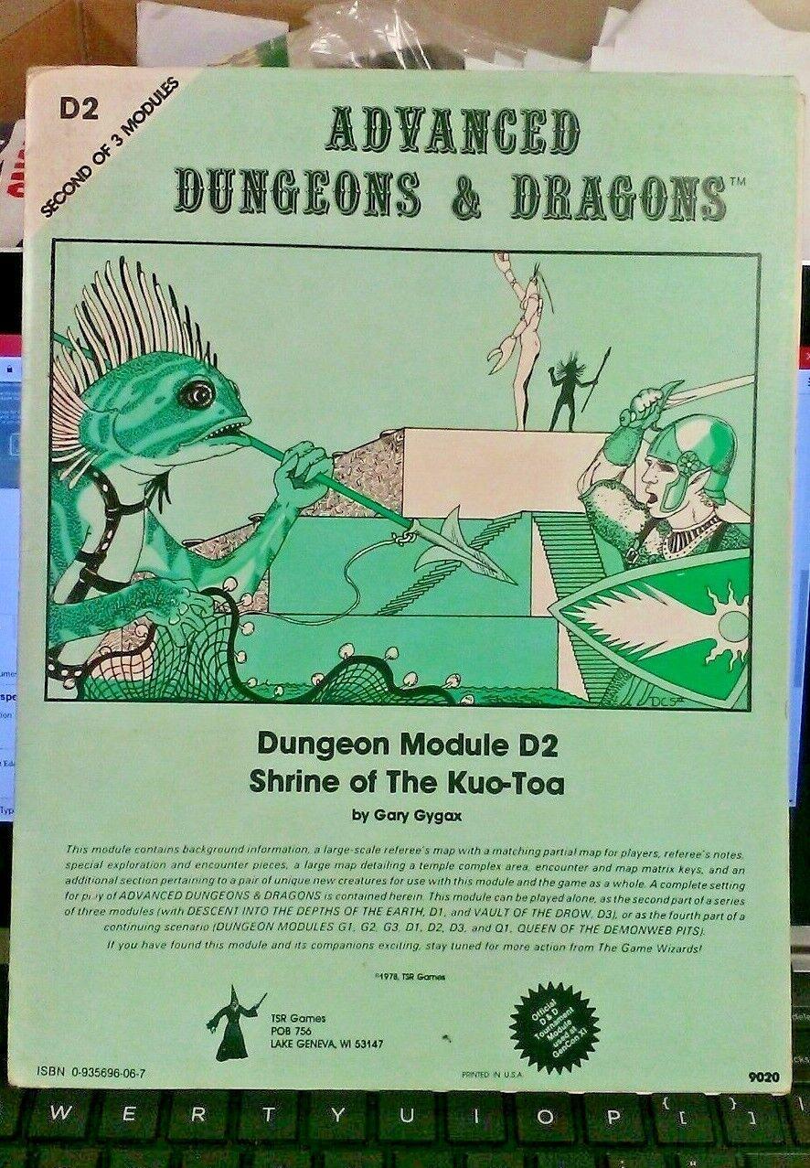 aquí tiene la última Calabozos Y Dragones módulo D2 D2 D2 9020 santuario de la Kuo-Toa 1978 gran condición  últimos estilos