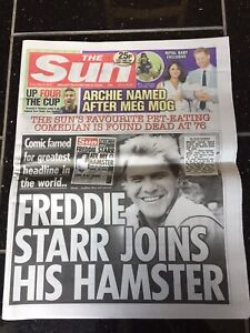 Freddie-Starr-Obituary-Front-Page-Tv-Newspapers-The-Sun-10-05-2019