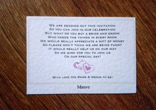 Poema de boda tarjetas de regalo 11 Colores * pidiendo dinero o tener tu propio poema