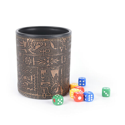 1 pc High Quality Brown Leather Rune Dice Cup PU leather 82x82x91mm HP