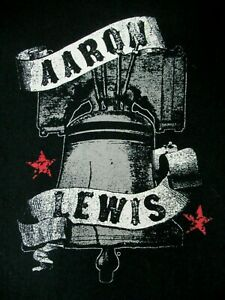 AARON-LEWIS-STAIND-LIBERTY-BELL-BLACK-LARGE-V-NECK-WOMENS-T-SHIRT-A1705