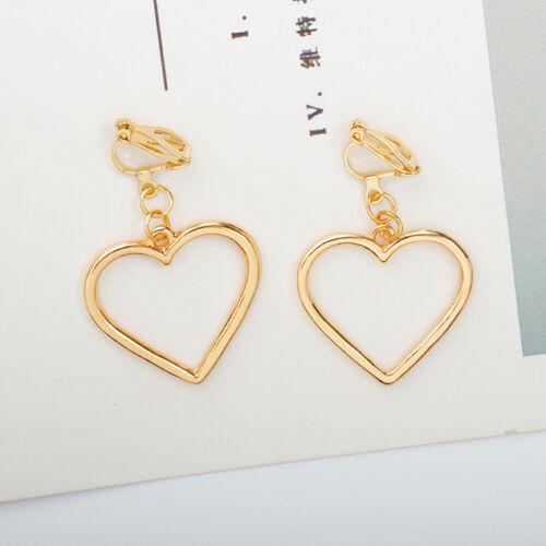 Charm Hollow Heart-shaped Earrings Simple Style Gold Silver Ear Hook Clip 2Types
