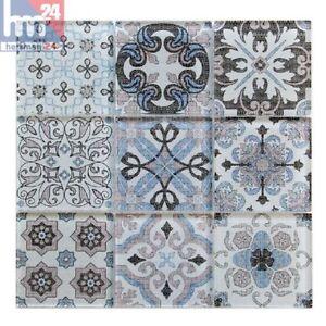 Glasmosaik Salerno Ornament Mosaikfliese Blau Weiss Beige Schwarz