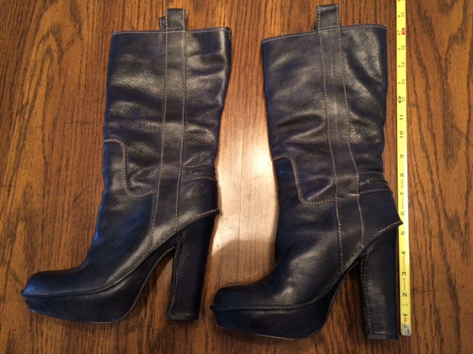 Frye Victoria Mid Leather Platform Block Heel Boot Womens 8.5M dark navy blue