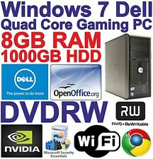 Windows 7 Dell Core 2 Quad HDMI Gaming Tower PC Computer - 8GB RAM - 1000GB