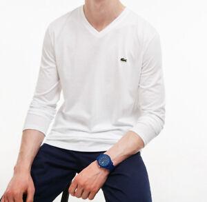 73fb495308 Mens Lacoste TShirt White Cotton Long Sleeve V Neck Tee Lacoste ...