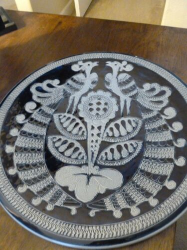 Decorative Wall Plate PeacocksFlower Made in Germany Blues