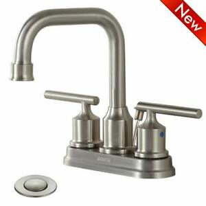 Bathroom-Faucet-2-Handle-4-Inch-With-Pop-Up-Drain-3-Hole-Brushed-Nickel-Vintage