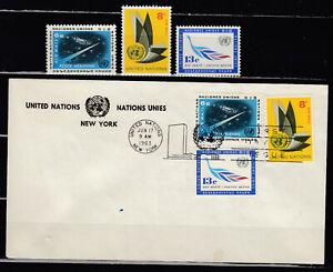 UNITED NATIONS UNADDRESSED COMBINATION FDC  #C8(6¢) #C9(8¢) & #C10(13¢) 1963 AIR