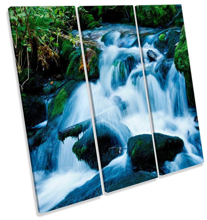 Montaña Río Cascada TREBLE LONA pared arte Foto impresión impresión impresión Cuadrado 606a91