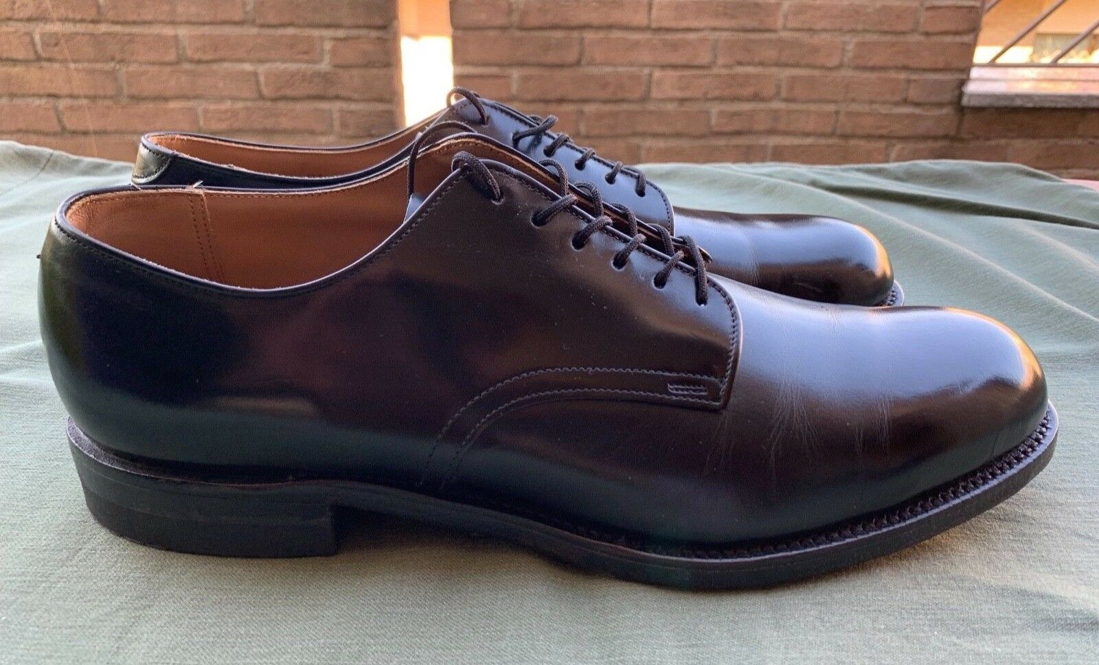 NAVY 1970 Military Service Oxford Shoes Pelle Sz. 11.5 N - D.J. Leavenworth