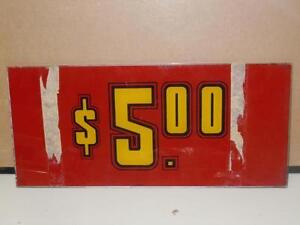 BALLY Casino Vintage Slot Machine Glass Payout Reel Line Insert $5.00 Red 1209-E