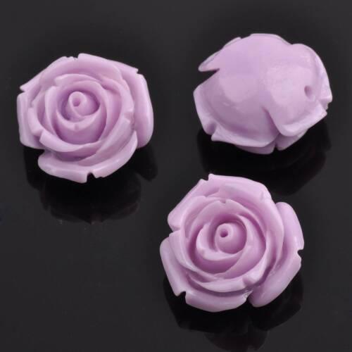 5pcs 20 mm Synthétique Corail Résine Fleur Rose Loose Spacer Beads Artisanat Fait Main