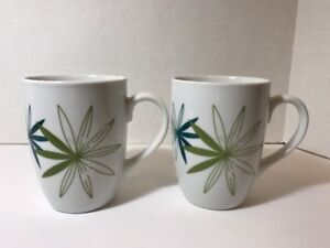 Pier-1-Kui-Hua-Modern-Floral-Porcelain-Exclusively-Pier1-Coffee-Mugs-Set-of-2