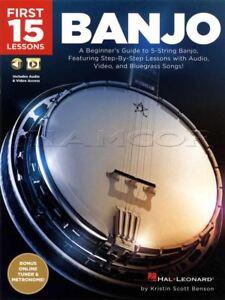 15 Premiers Banjo Leçons Tab Book/audio/vidéo 5-string Apprendre à Jouer Méthode Guide-eo 5-string Learn To Play Method Guide Fr-fr Afficher Le Titre D'origine