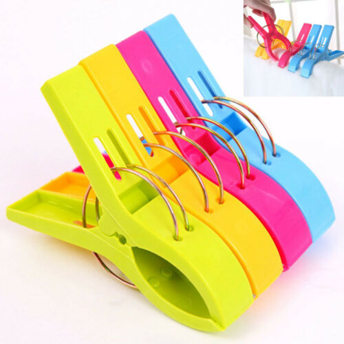 4//8X Large Plastic Towel Clips Pegs Beach Quilt Clothes Pins Sun Lounger Sunbed