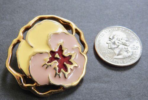 PANSY PIN enamel floral flower pin brooch goldton… - image 1