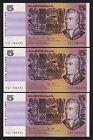Australia R-208. (1983) 5 Dollars.. Johnston/Stone.. UNC - CONSECUTIVE Trio