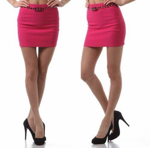 New Women/'s Juniors Casual Fitted Belted Mini Pencil Skirt